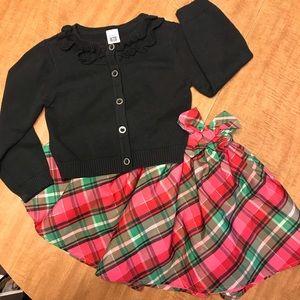 Black Cardigan & Fancy Plaid Skirt 3T
